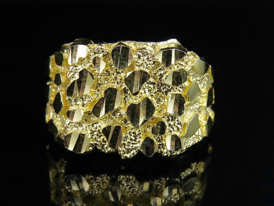 Grande bague fantaisie de créateur fait sur mesure en or jaune 10K à motif pépite, véritables pour hommes