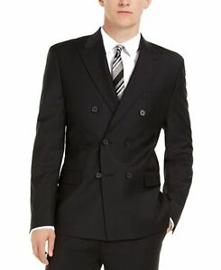 Calvin Klein Mens Blazer Black Size 48 Double Breasted Slim Fit Wool $450 #036
