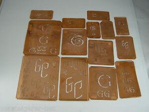 14-x-GC-alte-Merkenthaler-Monogramme-Kupfer-Schablonen-Stencils-Patrons-broder