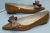 Manolo Blahnik Women's Shoes Brown Ballet Flats Size 38 Totitabow Loafers