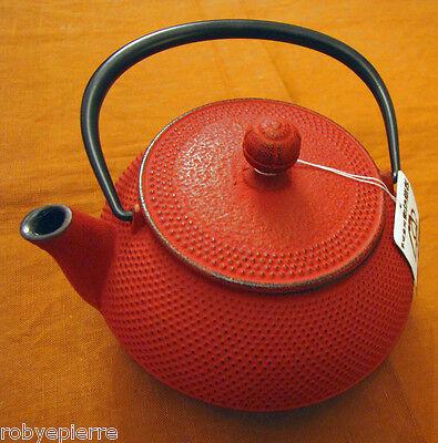 Teiera in ghisa IWACHU originale giapponese colore rosso intenso e filtro inox