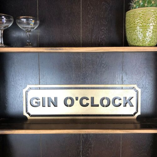 Gold Gin O CLOCK signe métal Road House rustique pub bar boissons RHUM VIN Gin