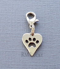 Dangle tag Dog paw print Clip On Charm Fits Link Chain, floating locket S173