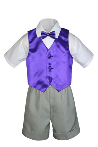 4pc Set Boy Toddler Formal Purple Vest and Bow tie White Black Khaki Shorts S-4T