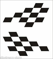 2x Chequered vinyl stickers graphics decals stock car racing dirt bike car