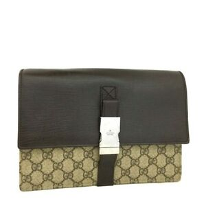efd131fce24 100% Authentic GUCCI GG Supreme Leather Clutch Second Hand Bag  3543 ...