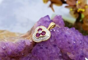 10CT-375-SOLID-YELLOW-GOLD-PENDANT-NATURAL-RUBIES-amp-DIA-16mm-x-11mm-1-0gr