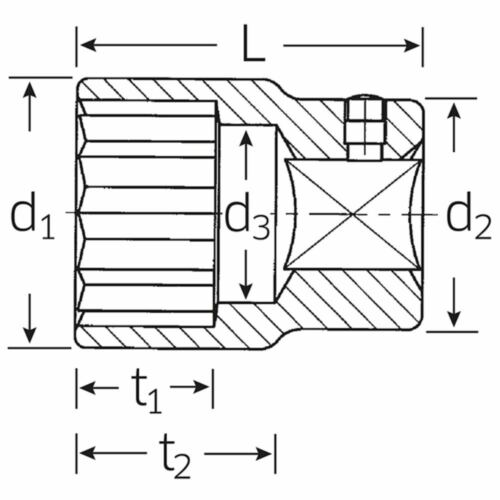 """Acier volonté 1/"""" pouce Douille ø 55 mm DIN 3124 Double Hexagonal"""