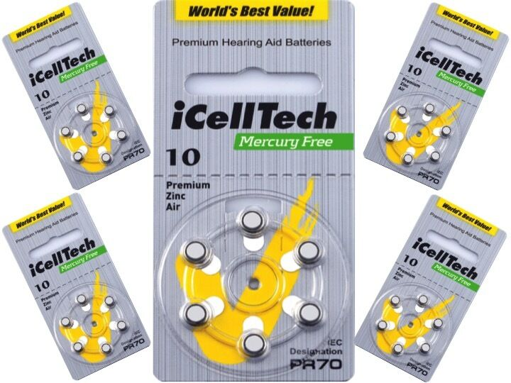 240 x  Hörgerätebatterien IcellTech 10 DS Hörgeräte-Batterien  PR70