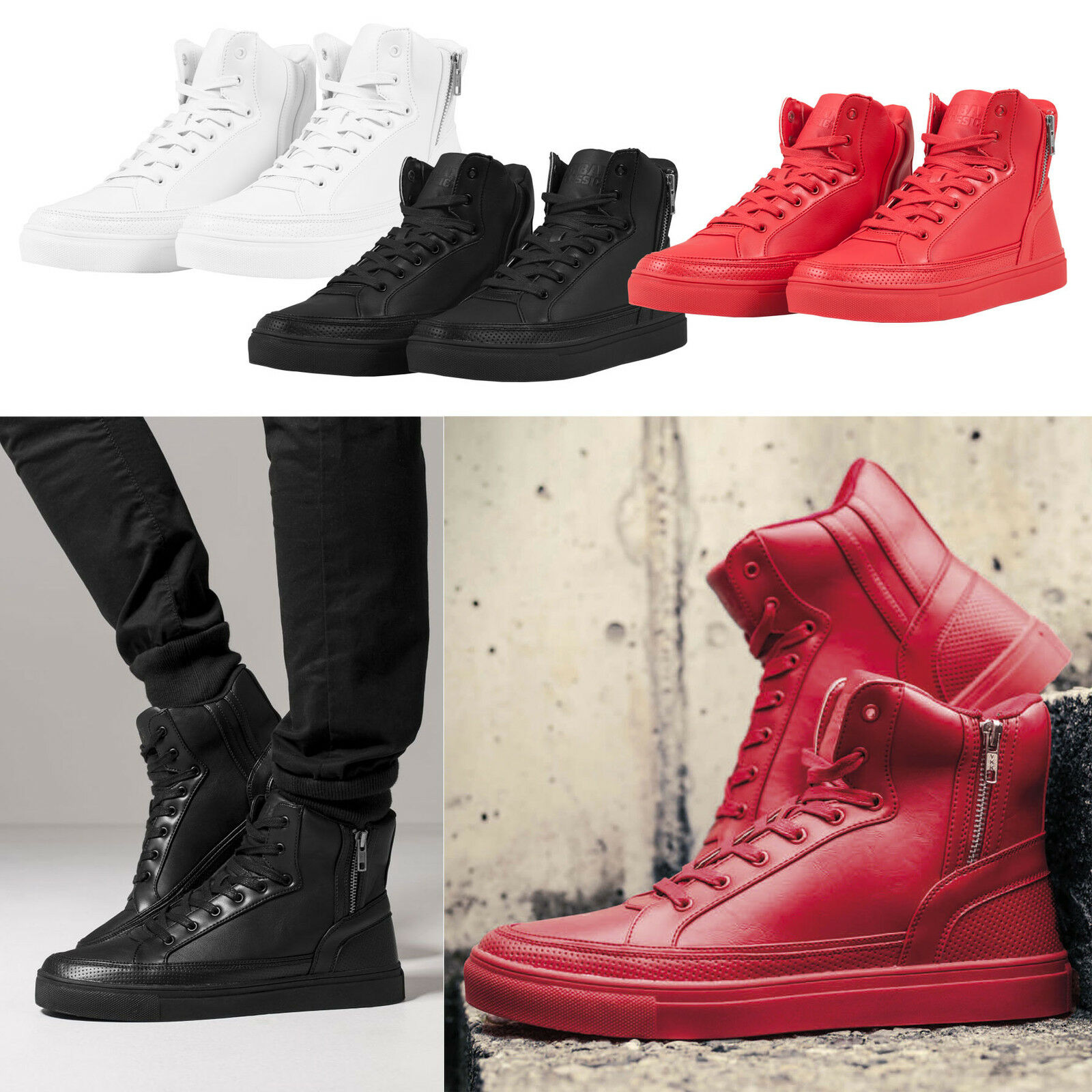 Urban Classics Zipper High Top shoes Unisex Men's Women's Sneaker 36-47 Tb1271