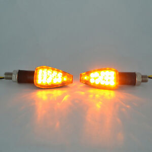2X-14LED-Motorcycle-Turn-Signal-Lamp-Amber-Light-Indicator-Universal-12V-Fad-Cy