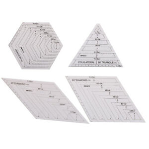 Details about Quilting Patchwork Ruler Triangle Rhombus Hexagon Acrylic  Template Sewing Tool