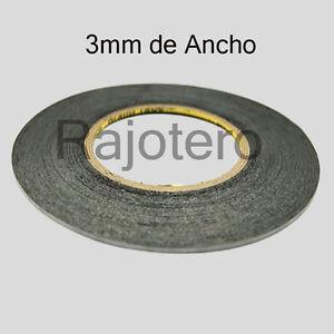 ROLLO-DE-50M-DE-CINTA-ADHESIVA-DE-DOBLE-CARA-DE-3MM-DE-ANCHO-NEGRA-NEGRO