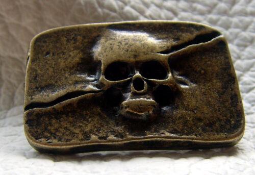 Rivets décoratifs tete de mort skull crâne piratenkopf rectangulaire altmessing 3,0 x 1,9cm