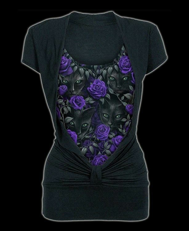 2in1 Femmes Chemise - Chats & Roses- The Watchers - Spiral Gothique Haut