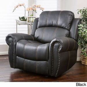 chairs for living room pu leather glider rocker black upholstered club