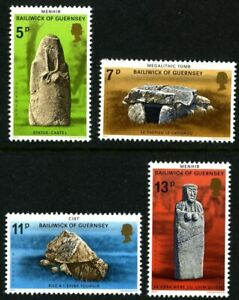 GUERNSEY-1977-PREHISTORIC-MONUMENTS-SET-OF-ALL-4-COMMEMORATIVE-STAMPS-MNH