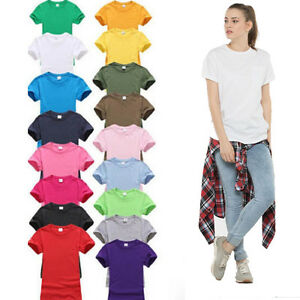 Womens-Plain-Short-Sleeve-Shirt-Fashion-Ladies-Summer-Casual-Top-Shirt-Tee-Vest