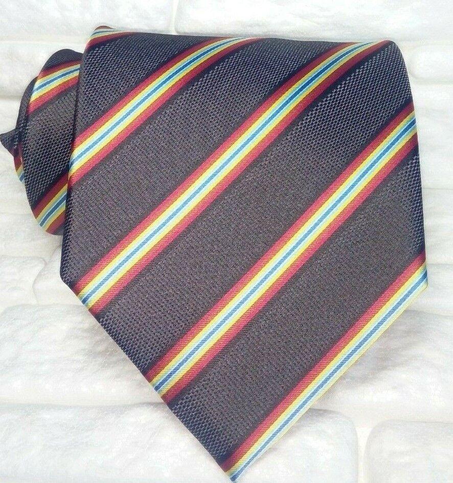 Krawatte gestreift braun-grau breit 10 cm JACQUARD Seide Made in Italy UVP
