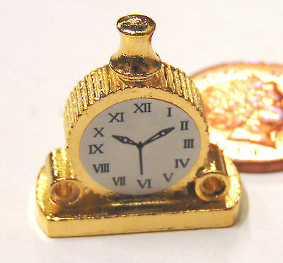 Dollhouse Miniature Vintage Domed Gold Mantle Clock 1:12 Scale Non-workings!
