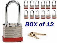 Knight Box (tm) Padlock Box Of 12 Long Shackle (1 7/8) Laminated Steel Keyed on sale