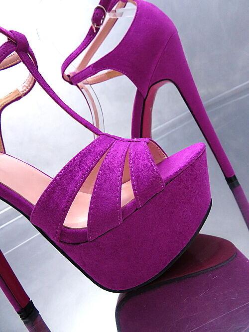 NEU Hohe Plateau Damen Pumps P53 Sandalen Schuhe Purple Pink Sole High Heel Purple Schuhe 35 71692e