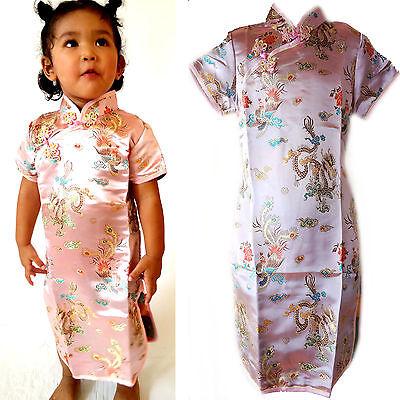 Asia Kinder Qipao//Geisha-Kostüm//Kleid Fasching//Cosplay Dress Drache Rosa 92-170