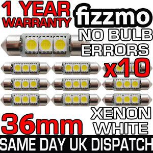 10x 36mm 239 272 SV8.5 6000k BRIGHT WHITE 3 SMD LED FESTOON LIGHT BULB NO ERRORS