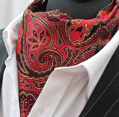 Cravat Ascot Orange /& Red Paisley Cravat with matching hanky.