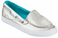 Sperry Topsider 1 M Youth Girls Seabright Silver Slip On, Box Without Lid