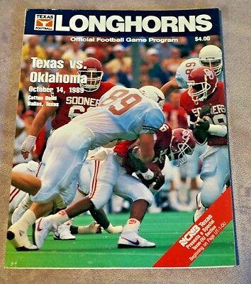 1989 Texas Longhorns / Oklahoma Sooners Official Football ...