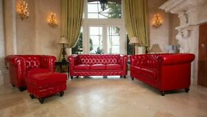 Red Micro Leather Sofa Loveseat Chair