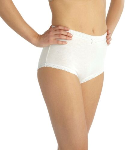 """12 PAIRS PLUS SIZE  WHITE COTTON FULL BRIEFS KNICKERS SIZES 36/"""" TO 66/"""" HIPS"""