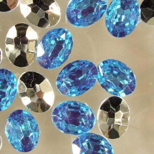 10 x Acrylique glitzersteine pierres ovale Arrière à facettes 18x25 mm