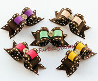 30 Cute 5/8 Colorful Crystal Yorkie Puppy Dog Grooming Bows Shih-tzu Maltese