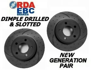 DIMPLED SLOTTED FRONT DISC BRAKE ROTORS+EBC PADS for Ford EF EL ABS 1994-1996