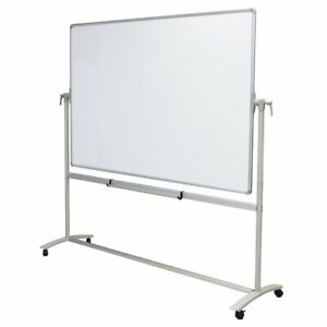VIZ-PRO Mobile Whiteboard with Steel Stand Double-Sided Magnetic Dry Erase Board