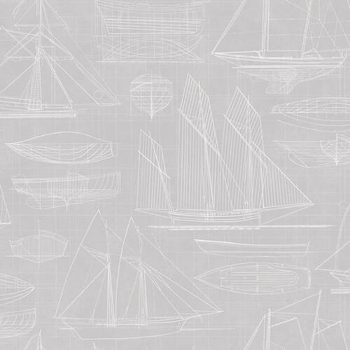 Deauville 2 Nautical Boats White Grey Galerie Wallpaper G23328
