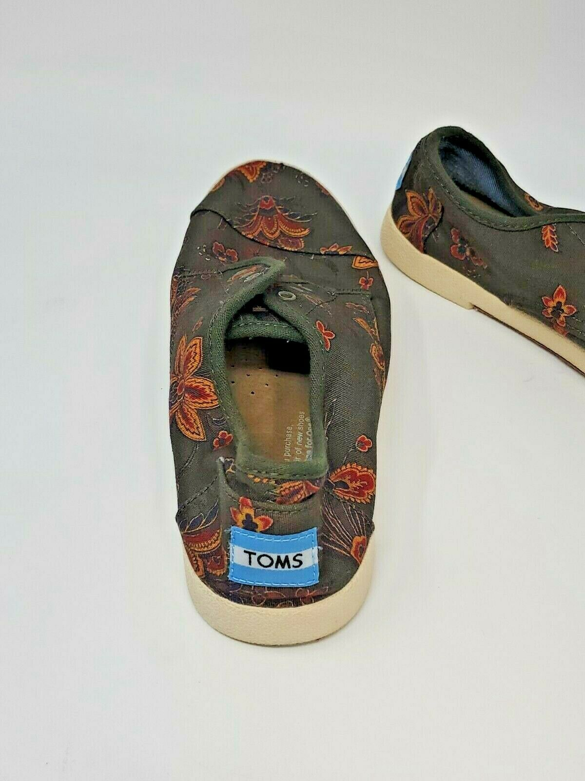 Toms Woman's Denim Sneakers Canvas Green Lace Up Shoes Size W7