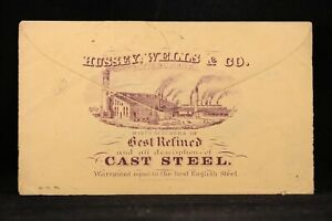 Ohio-Zanesville-1870s-3c-Entire-Hussey-Wells-Steel-Factory-Advertising-Cover