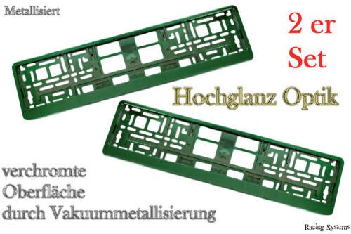 2 Hochglanz Chrom Kennzeichenhalter Nummernschildhalter Grün Metallisiert Set