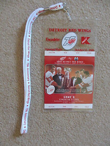 DETROIT RED WING 75th ANNIVERSARY  COMMEMORATIVE TICKET /& LANYARD