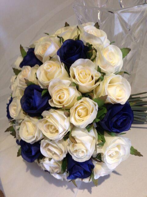 IVORY & BLUE ROSES POSY 60 BUDS WEDDING  BOUQUET ARTIFICIAL SILK FLOWER