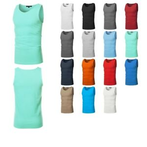 FashionOutfit-Men-039-s-Basic-Solid-Sleeveless-Round-Neck-Tank-Top-Various-Colors