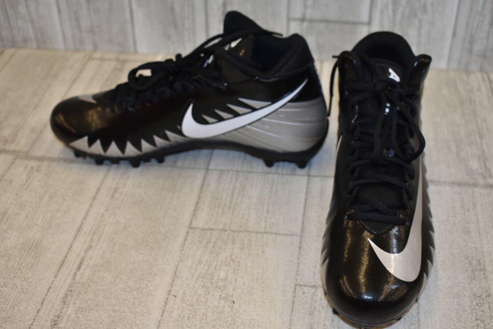 Nike Alpha Menace Varsity Mid Football Cleats, Men's Size 10.5, Black Silver