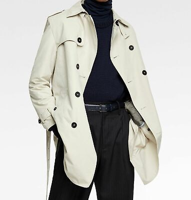 Mens Navy Blue Traditional Double Breasted Long Trench Coat Cotton Military Rain Mac