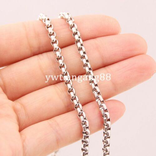 """16/""""-40/""""3mm Women Men Rolo Chain 316L Stainless Steel Necklace Silver//Gold//Black"""