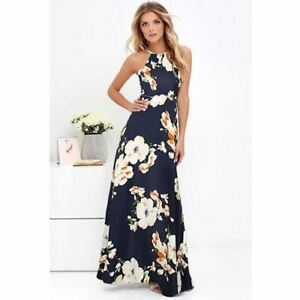 Women O Neck Floral Printed Sleeveless Plus Size Beach Wear Maxi ...