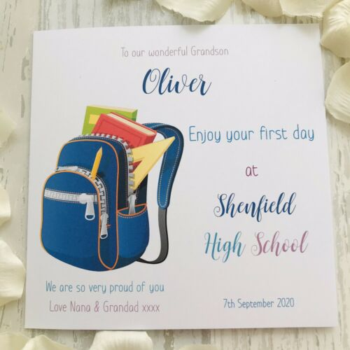 Personalised First Day at School Card Rucksack Good Luck Son Daughter Reception