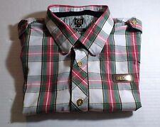 Cavi Button Down Shirt Men's Short Sleeve Size 3XL Green/Red/ White